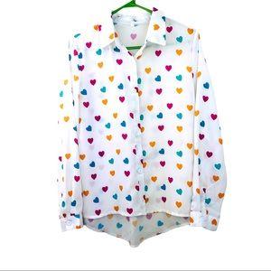 White button down long sleeve women shirt size M